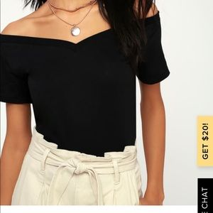 Lulus Bostick Black off the shoulder tee